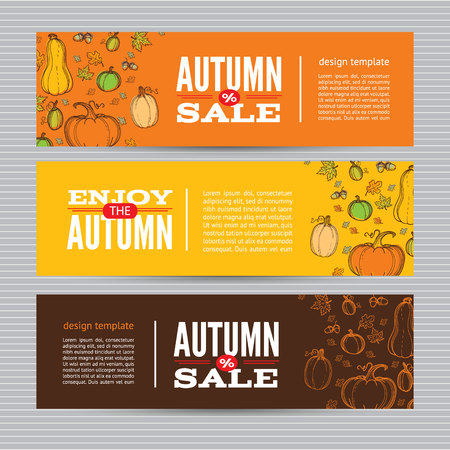 Autumn vector billboards, banners set.Template for web, print industry, brand advertising. Hand drawing style illustration. Vettoriali