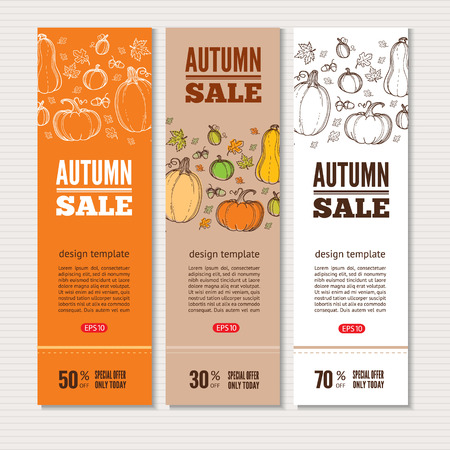autumn food: Autumn vector billboards, banners set.Template for web, print industry, brand advertising. Hand drawing style illustration. Illustration