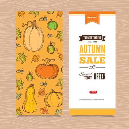 Autumn vector billboards, banners set.Template for web, print industry, brand advertising. Hand drawing style illustration. Illustration