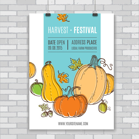 harvest: Autumn vector billboard, poster.Template for web, print industry, brand advertising. Hand drawing style. Organic farm illustration. Illustration