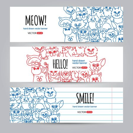 animal frame: Set of horizontal banners templates with funny cats face background. Vector background. Hand drawn design elements. Corporate business cards design.