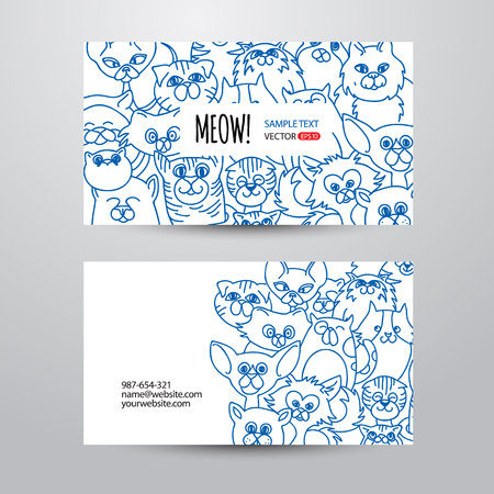 cute cards: Person card template with funny cats face background. Vector background. Hand drawn design elements. Corporate business cards design.