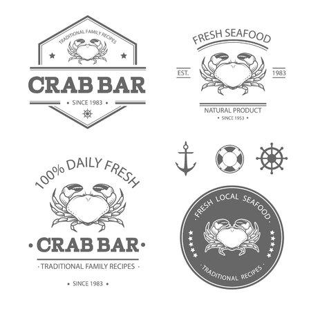 mariscos: Conjunto de etiquetas de mariscos vector, escudos y elementos de dise�o