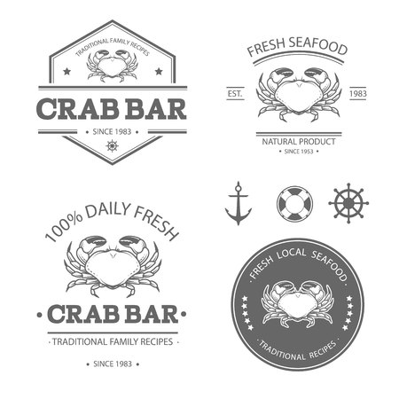 crab: Set of vector seafood labels, badges and design elements Illustration