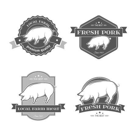 PIGGY: Set of premium pork meat labels.Vector quality pork badges and labels for any use. Illustration