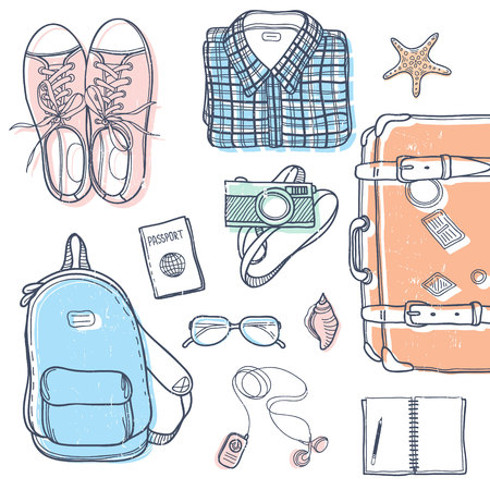 passport background: Vector set with travel elements including suitcase, backpack, notebook, glasses, sneakers, player, camera, passport, clothes and sea shells. Cute unique doodle travel background.