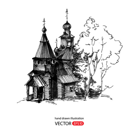old church: Hand drawn old wooden church. The Museum of wooden architecture in Russia. Vector illustration.