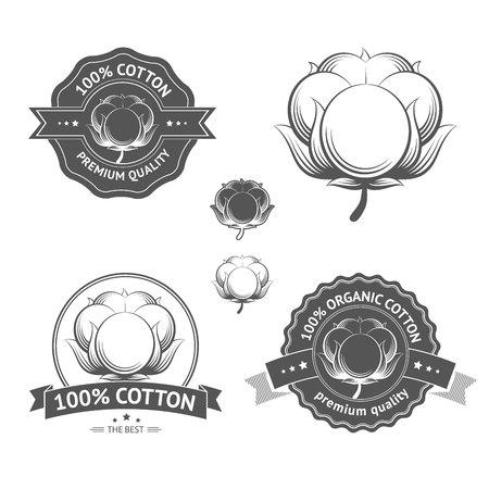 綿のアイコンを設定します。コットン ラベル、ステッカー、エンブレム。100% の Certifyl コットン綿製品このような服と材料のための理想的な分離  イラスト・ベクター素材