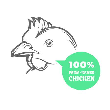 gallo: animales de granja - pollo. Ilustración del vector para la industria agrícola.