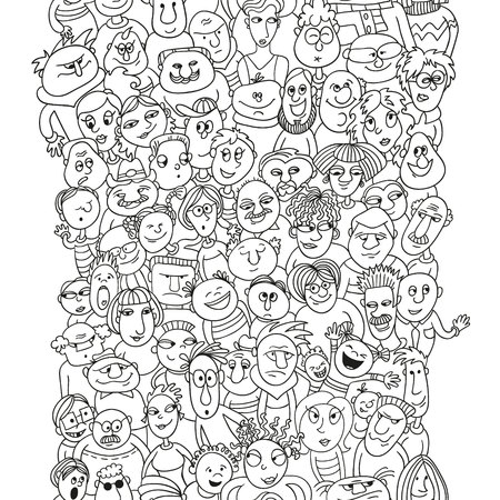 funny people: Crowd of funny people faces, bubble shape people, seamless background for your design
