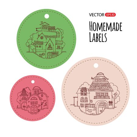 Cartoon hand drawing houses. Vector illustration. Homemade label template.
