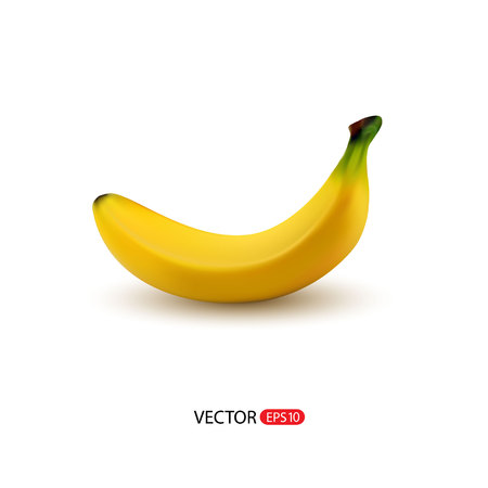 eatable: Vector realistic fresh ripe banana isolated on white background.