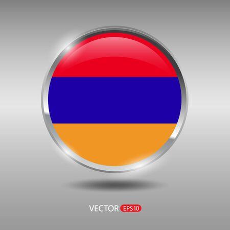 metal button: Armenia flag, shiny, glossy metal vector badge