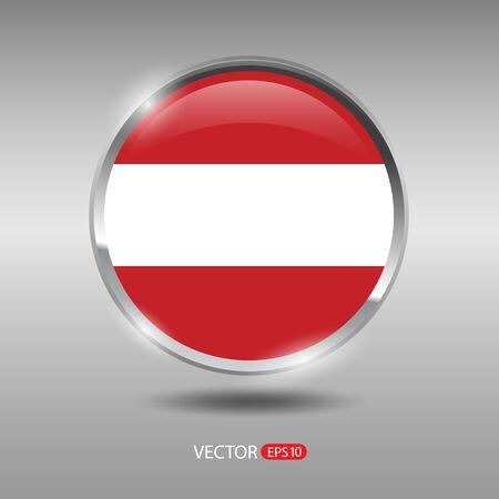 shiny metal: Austria flag, shiny, glossy metal vector badge