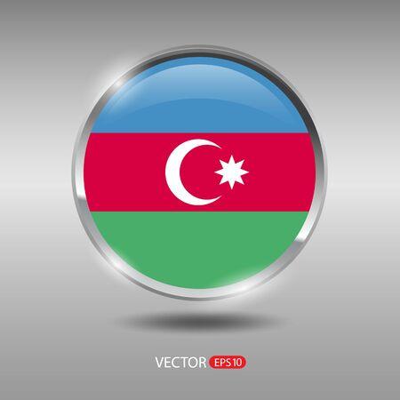 shiny metal: Azerbaijan flag, shiny, glossy metal vector badge Illustration