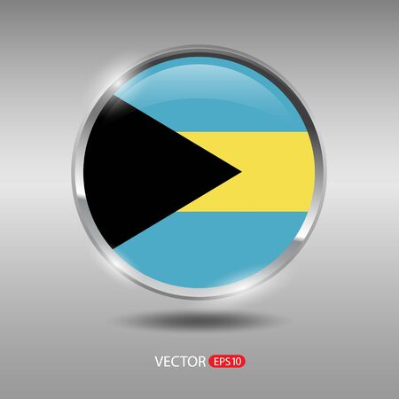 shiny metal: Bahamas  flag, shiny, glossy metal vector badge