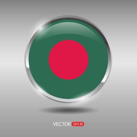 shiny metal: Bangladesh  flag, shiny, glossy metal vector badge Illustration