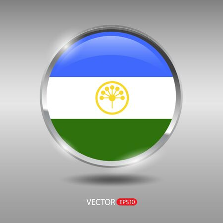 shiny metal: Bashkortostan flag, shiny, glossy metal vector badge