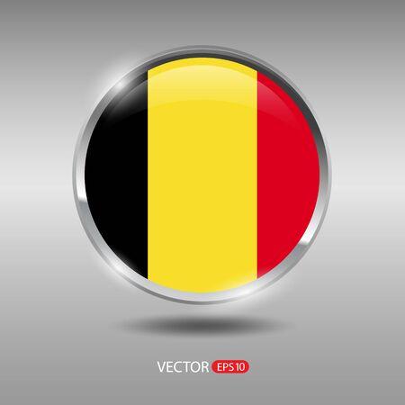 shiny metal: Belgium flag, shiny, glossy metal vector badge
