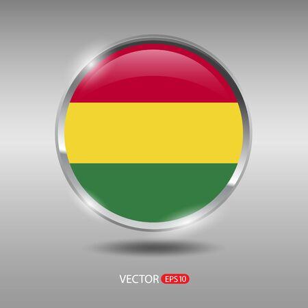 bandera de bolivia: Bolivia flag, shiny, glossy metal vector badge Vectores