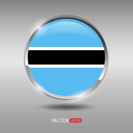 shiny metal: Botswana flag, shiny, glossy metal vector badge