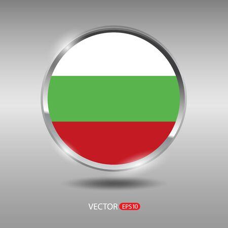 shiny metal: Bulgaria flag, shiny, glossy metal vector badge