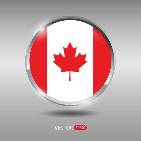 shiny metal: Canada flag, shiny, glossy metal vector badge Illustration