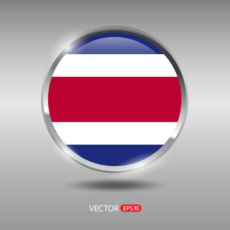 costa rica: Costa Rica flag, shiny, glossy metal vector badge