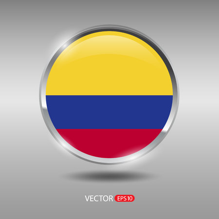 republic of colombia: Colombia flag, shiny, glossy metal vector badge