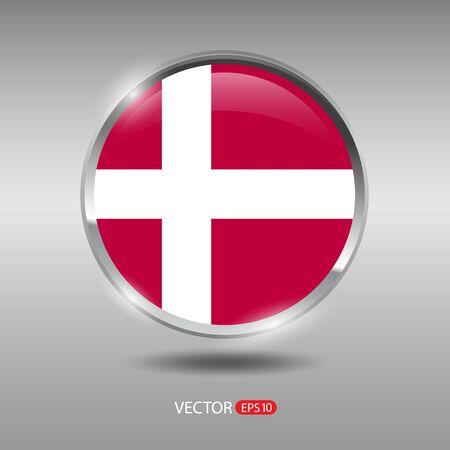 denmark flag: Denmark  flag, shiny, glossy metal vector badge