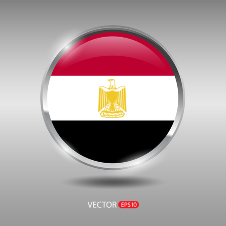 shiny metal: Egypt flag, shiny, glossy metal vector badge