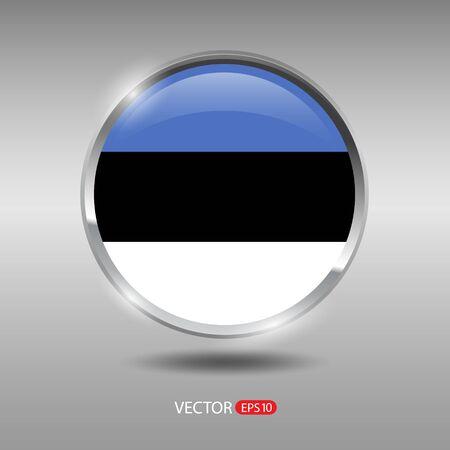 shiny metal: Estonia flag, shiny, glossy metal vector badge