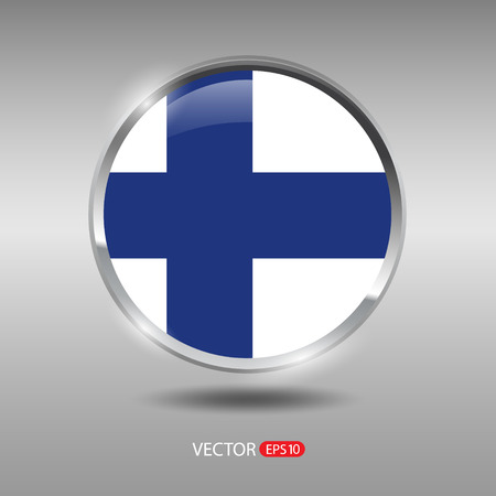 finland flag: Finland flag, shiny, glossy metal vector badge Illustration