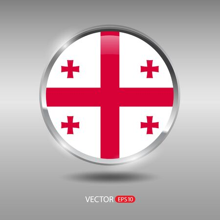 shiny metal: Georgia flag, shiny, glossy metal vector badge