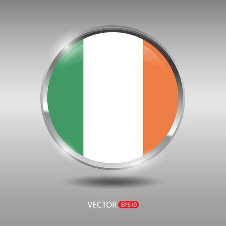 shiny metal: Ireland flag, shiny, glossy metal vector badge