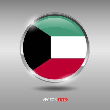 shiny metal: Kuwait flag, shiny, glossy metal vector badge
