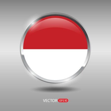 monaco: Monaco flag, shiny, glossy metal vector badge