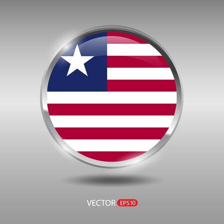 shiny metal: Liberia flag, shiny, glossy metal vector badge