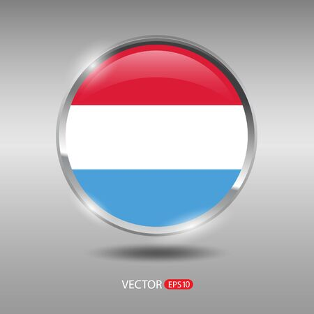shiny metal: Luxembourg flag, shiny, glossy metal vector badge