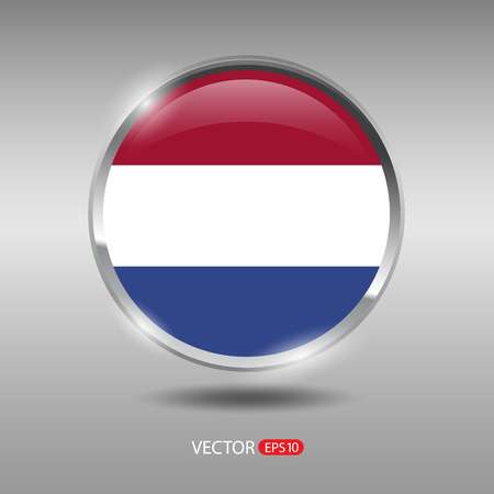 netherlands flag: Netherlands flag, shiny, glossy metal vector badge Illustration