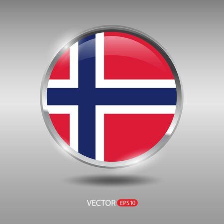 norway flag: Norway flag, shiny, glossy metal vector badge Illustration