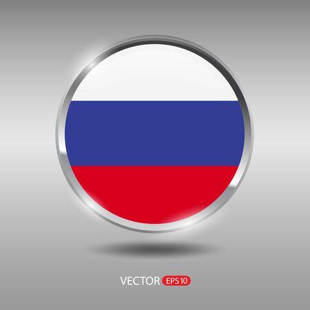 shiny metal: Russia flag, shiny, glossy metal vector badge