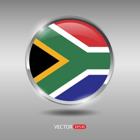 south africa flag: South Africa flag, shiny, glossy metal vector badge