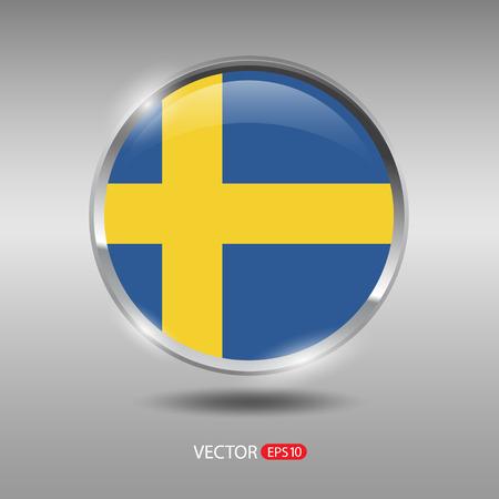 shiny metal: Sweden flag, shiny, glossy metal vector badge Illustration