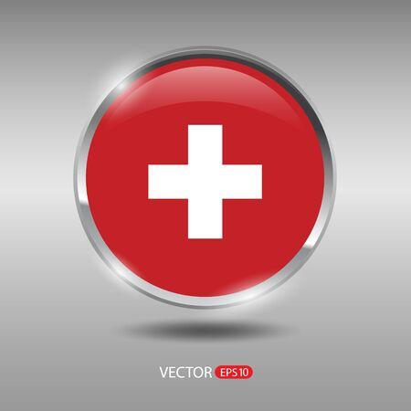 shiny metal: Switzerland flag, shiny, glossy metal vector badge