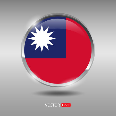 Taiwan flag shiny glossy metal vector badge vector