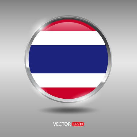 shiny metal: Thailand flag, shiny, glossy metal vector badge