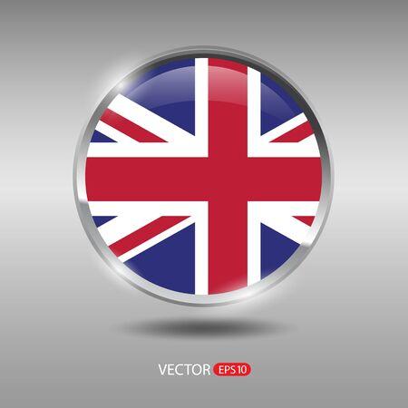 shiny metal: UnitedKingdom flag, shiny, glossy metal vector badge
