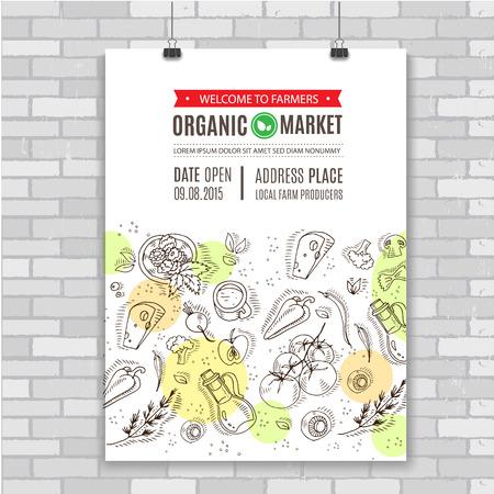 Affiche avec la main dessiner des légumes et des aliments. La conception parfaite pour la publicité sur le marché naturel, l'industrie de l'agriculture biologique et les entreprises de produits bio.
