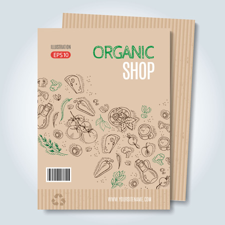 periodical: Vector cardboard template. Modern hand drawn style for sale and discount of vegetarian shop, web, periodical, advertising, sticker and print. Concept for natural organic products shop, cover design.